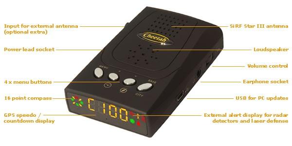 C-100 GPS Warner gegen festinstallierten Blitzern